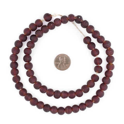Image of Dark Brown Frosted Sea Glass Beads (9mm) - The Bead Chest