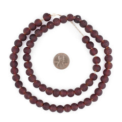 Dark Brown Frosted Sea Glass Beads (9mm)