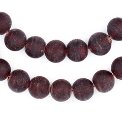 Dark Brown Frosted Sea Glass Beads (11mm)