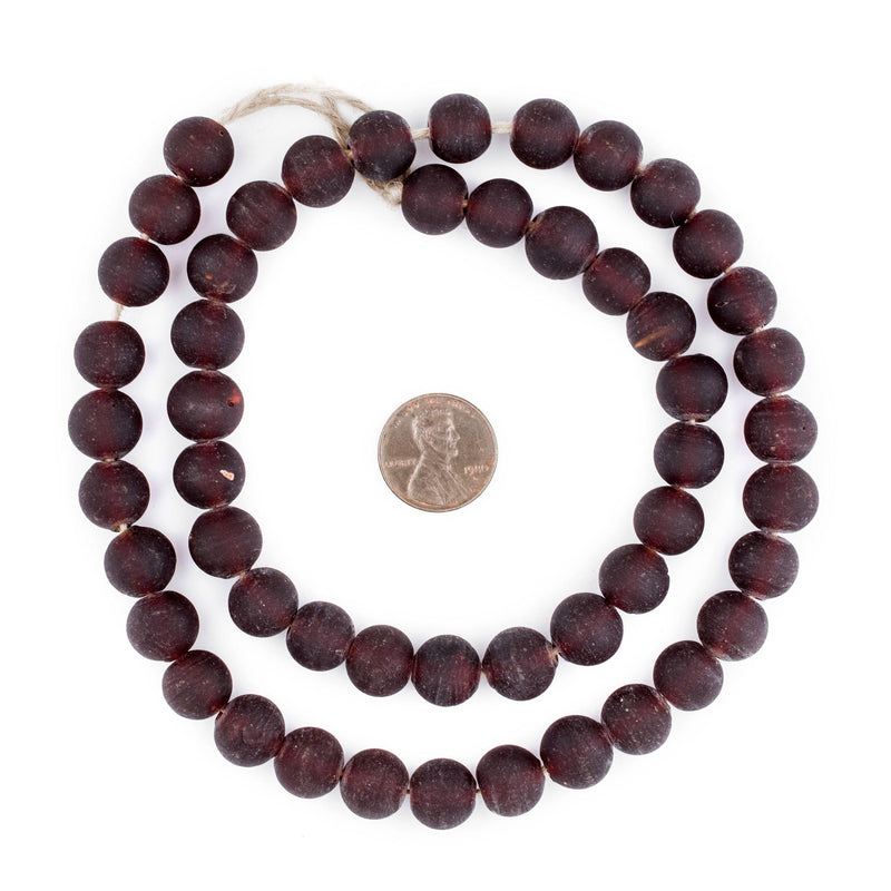 Dark Brown Frosted Sea Glass Beads (11mm) - The Bead Chest