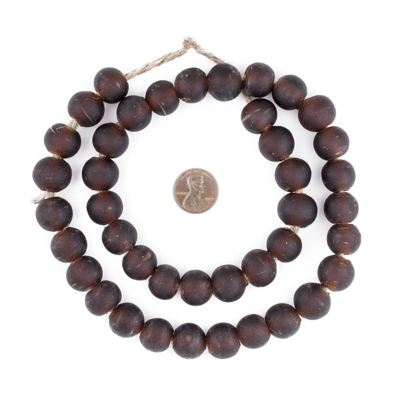 Dark Brown Frosted Sea Glass Beads (14mm) - The Bead Chest