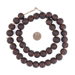 Dark Brown Frosted Sea Glass Beads (14mm)