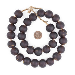 Dark Brown Frosted Sea Glass Beads (18mm)