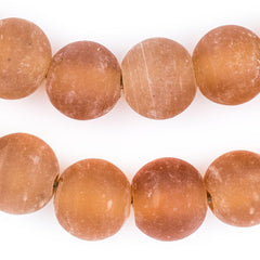 Orange Frosted Sea Glass Beads (18mm)