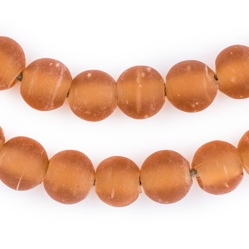Orange Frosted Sea Glass Beads (14mm) - The Bead Chest
