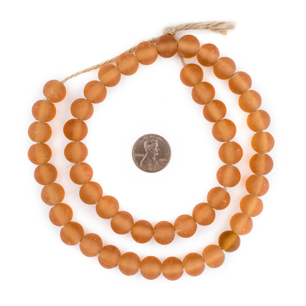 Orange Frosted Sea Glass Beads (11mm) - The Bead Chest