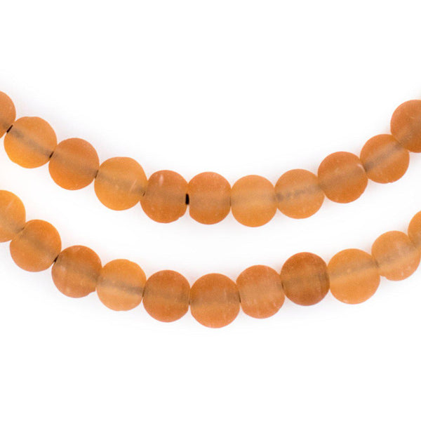 Orange Frosted Sea Glass Beads (7mm) - The Bead Chest