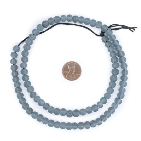 Sky Grey Frosted Sea Glass Beads (7mm) - The Bead Chest