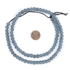 Sky Grey Frosted Sea Glass Beads (7mm)
