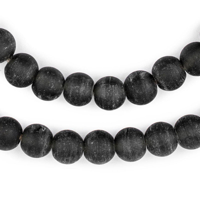 Black Frosted Sea Glass Beads (11mm) - The Bead Chest