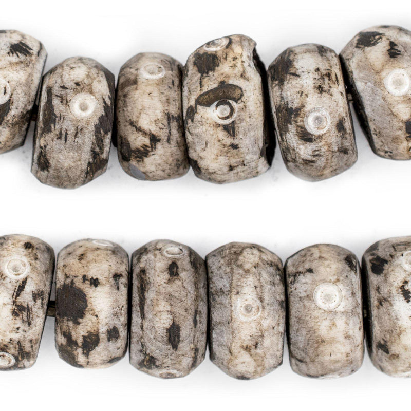 Carved Eye Grey Bone Beads (Large) - The Bead Chest