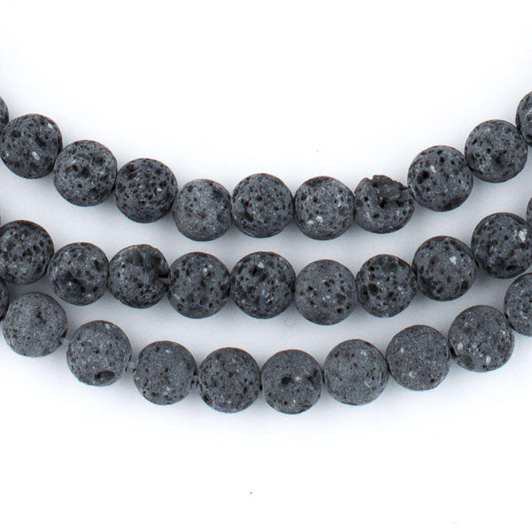 Grey Volcanic Lava Beads (6mm) - The Bead Chest