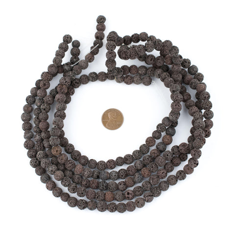 Image of Rustic Brown Round Volcanic Lava Beads (8mm) - The Bead Chest