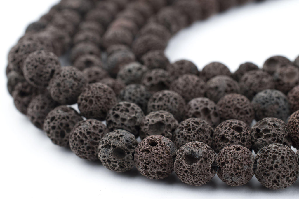 Rustic Brown Round Volcanic Lava Beads (8mm) - The Bead Chest