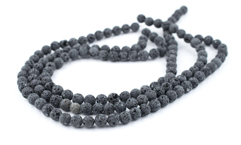 Grey Volcanic Lava Beads (8mm) - The Bead Chest