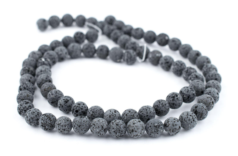 Grey Volcanic Lava Beads (10mm) - The Bead Chest