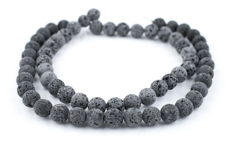 Grey Volcanic Lava Beads (12mm) - The Bead Chest