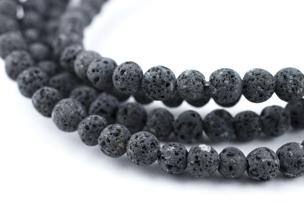 Grey Volcanic Lava Beads (4mm) - The Bead Chest