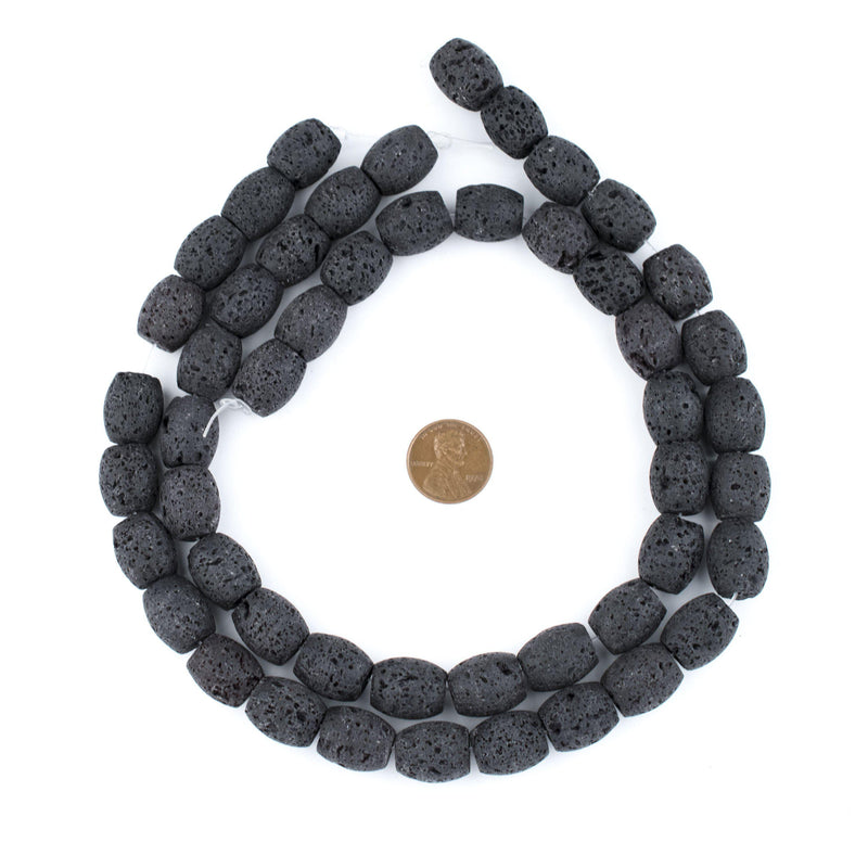 Black Oval Volcanic Lava Beads (15x13mm) - The Bead Chest