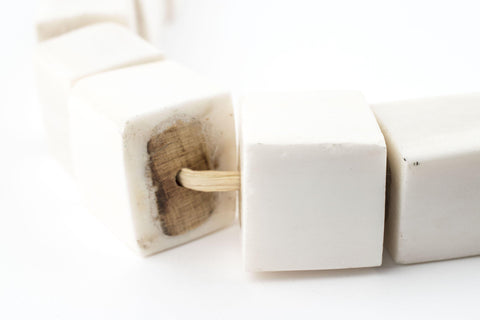 Kenya White Bone Beads (Cube) - The Bead Chest