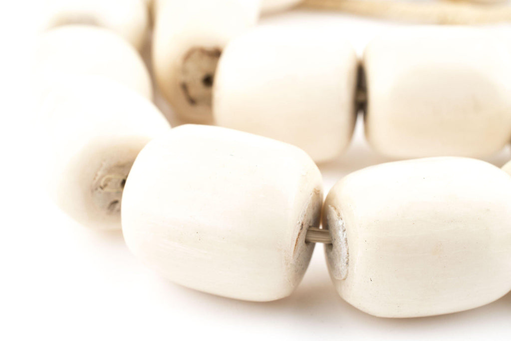Polished White Bone Beads (Barrel) - The Bead Chest