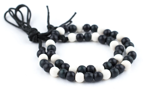 Black & White Round Wood Beads (8mm) - The Bead Chest