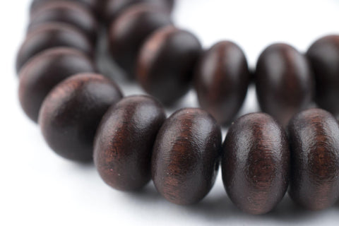 Dark Brown Abacus Natural Wood Beads (12mm) - The Bead Chest
