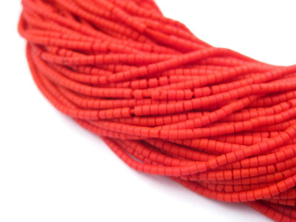 Vibrant Red Afghani Tribal Seed Beads