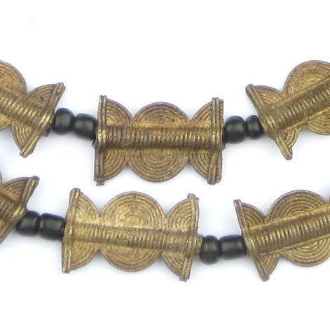 Brass Baule Beads, Sun Moon Design (27x17mm) - The Bead Chest