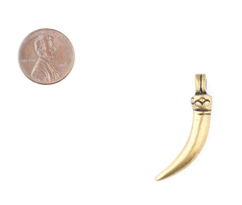 Engraved Brass Tooth Pendant (Rounded) - The Bead Chest