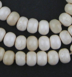 Round White Bone Beads - Long Strand (9x12mm) - The Bead Chest