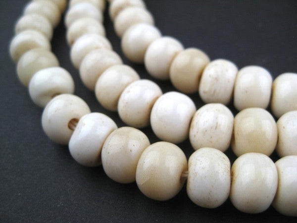Round White Bone Beads - Long Strand (9x12mm)