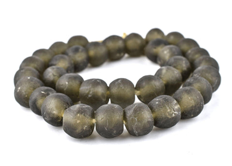 Jumbo Groundhog Grey Recycled Glass Beads (22mm) - The Bead Chest