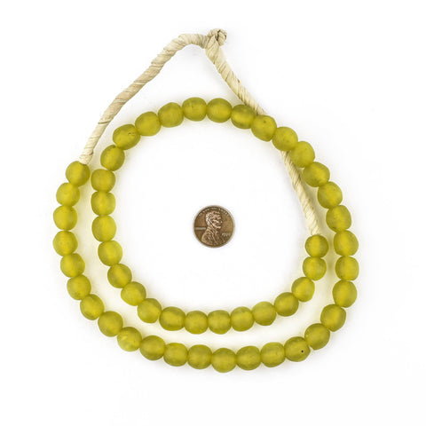 Image of Corn Yellow Recycled Glass Beads (11mm) - The Bead Chest