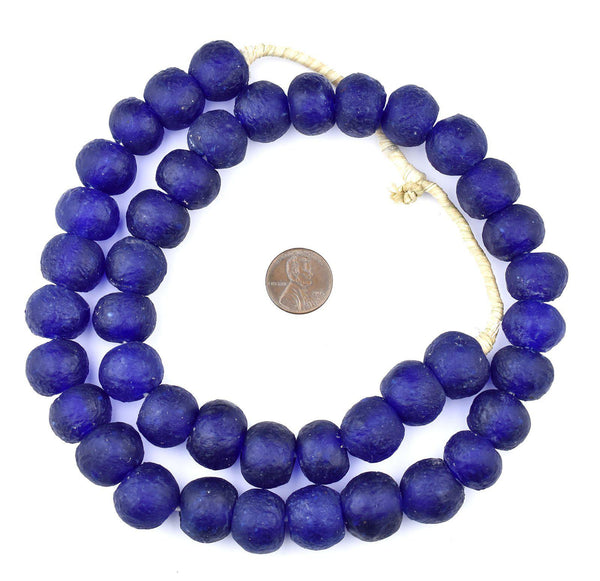Cobalt Blue Recycled Glass Beads (18mm)