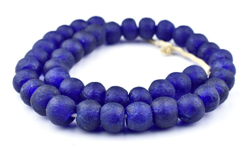 Cobalt Blue Recycled Glass Beads (18mm) - The Bead Chest