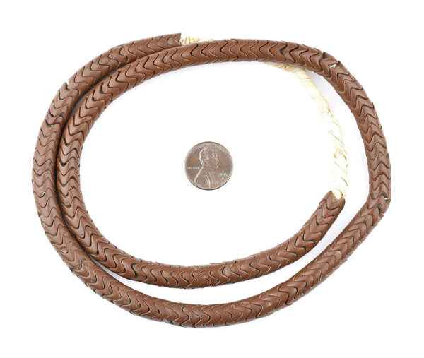 Glass Snake Beads, Brown Color (9mm)