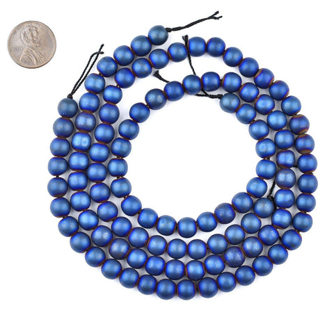 Image of Blue Round Electroplated Hematite Beads (8mm) - The Bead Chest