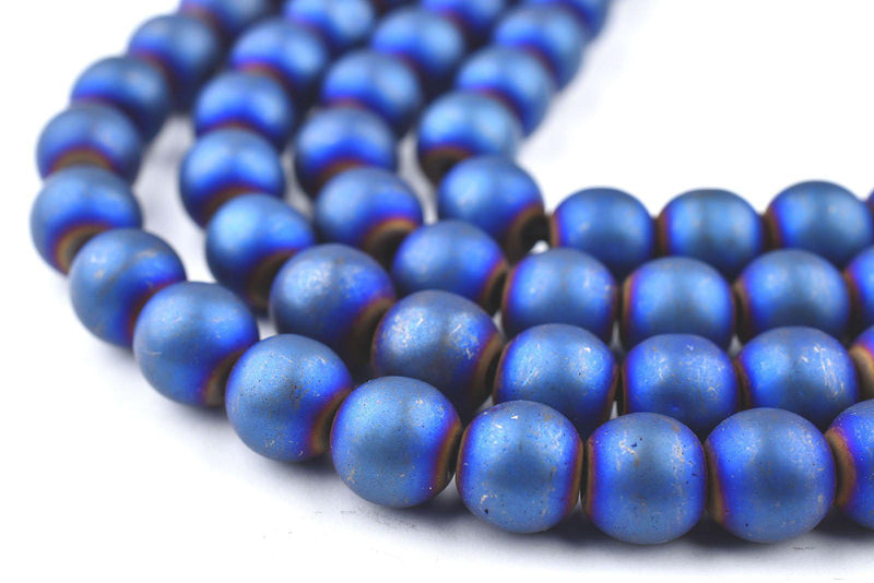 Blue Round Electroplated Hematite Beads (8mm) - The Bead Chest
