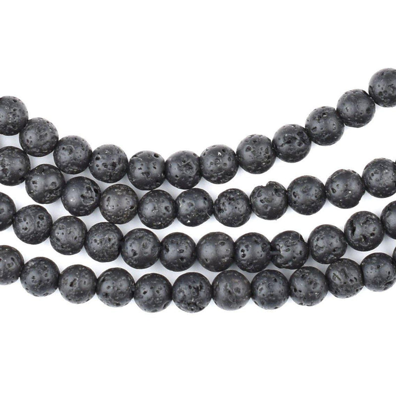 Charcoal Black Volcanic Stone Beads (5mm) - The Bead Chest