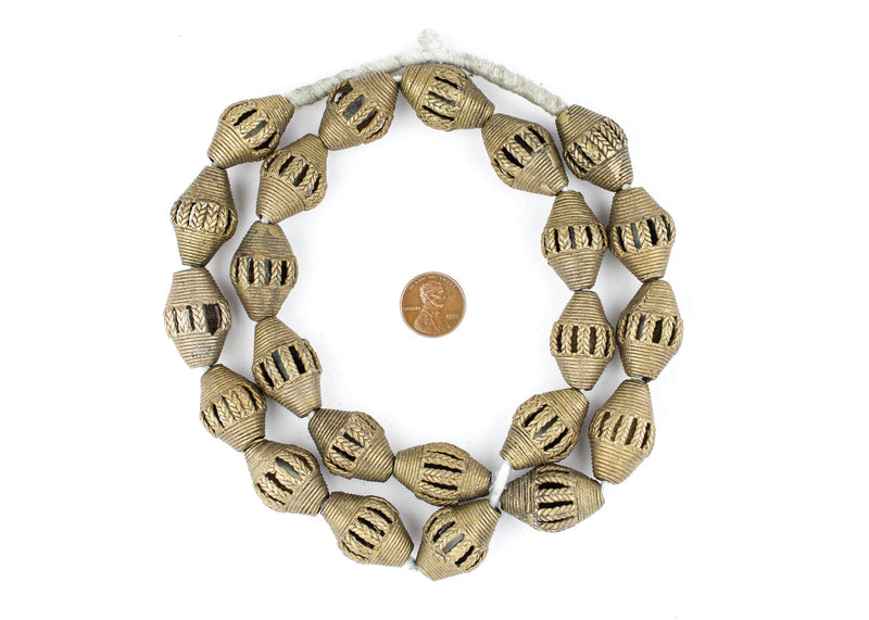 Oval Ivory Coast Brass Filigree Beads (29x18m) - The Bead Chest
