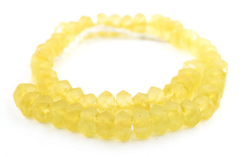 Sunflower Yellow Faceted Recycled Java Sea Glass Beads - The Bead Chest