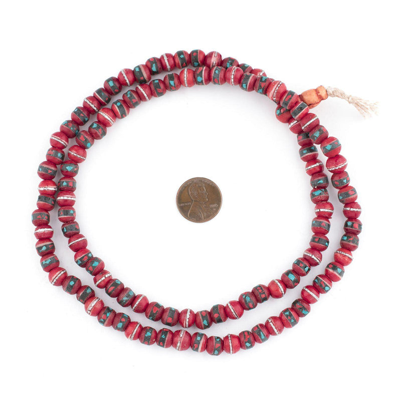 Red Vintage Inlaid Bone Mala Beads (8mm) - The Bead Chest