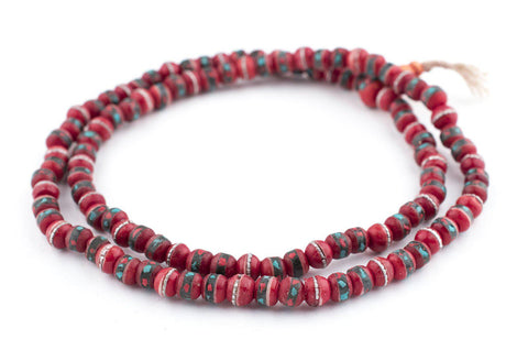 Image of Red Vintage Inlaid Bone Prayer Beads (8mm) - The Bead Chest