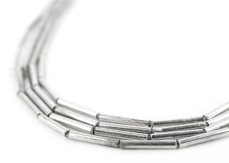White Metal Tube Beads (1.5mm) - The Bead Chest