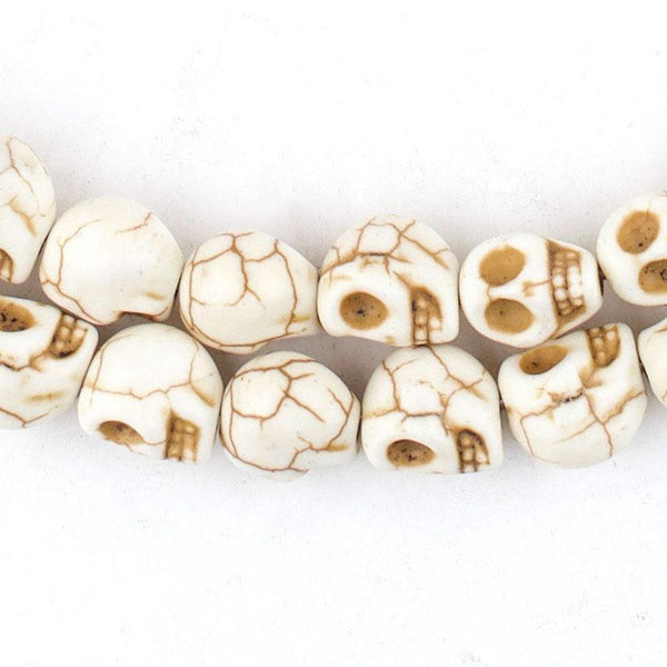 White Howlite Skull Beads (9mm) - The Bead Chest