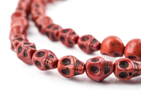 Antiqued Brown Howlite Skull Beads (9mm) - The Bead Chest
