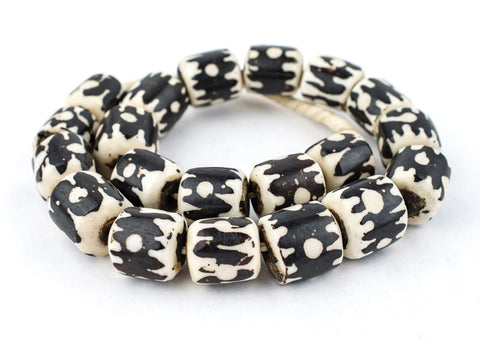 Image of Doodle Design Kenya Batik Bone Beads (Barrel) - The Bead Chest