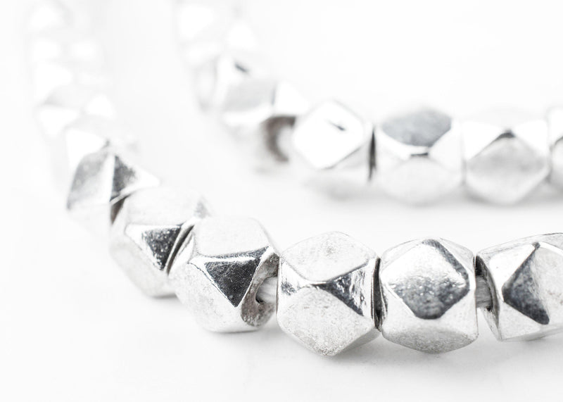 Silver Faceted Diamond Cut Beads (7mm) - The Bead Chest