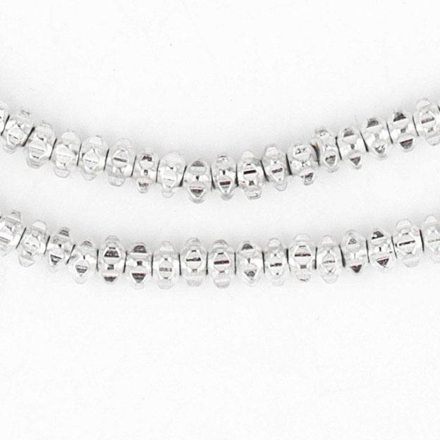 Shiny Silver Flower Heishi Beads (4mm) - The Bead Chest